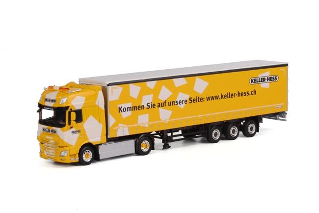 Keller+ Hess DAF XF SSC Schuifzeilen Oplegger 3 as, van WSI Models