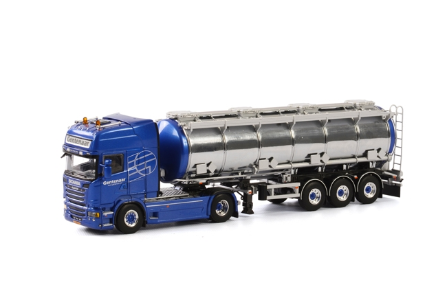 WSI Model Gentenaar Transport Scania R Streamline Topline Tank oplegger 3 asser