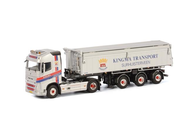 Kingma Volvo FH4 GlobetrotterKip Oplegger Asfalt & Zand 3 asser, van WSI Models.