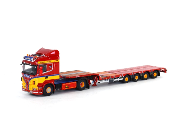 Klappenecker Scania R Highline Nooteboom Semi Dieplader (4 as) van WSI models.