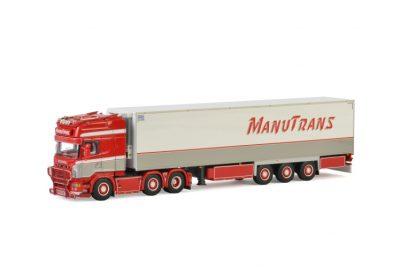 Manutrans SCANIA R6 TOPLINE 6×2 TAG AXLE REEFER TRAILER – 3 AXLE , Van WSI Models