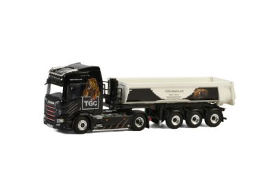 TGC Bern SCANIA R HIGHLINE CR20H 4×2 HALP PIPE TIPPER TRAILER – 3 AXLE , Van WSI Models