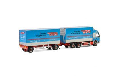 Skive Fragt A/S VOLVO FM4 GLOBETROTTER 6X2 TAG AXLE RIGED TRUCK DRAWBAR BOX – 5 AXLE , Van WSI Models