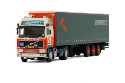 Lommerts VOLVO F12 GLOBETROTTER 4X2 CURTAINSIDE TRAILER – 3 AXLE , Van WSI Models
