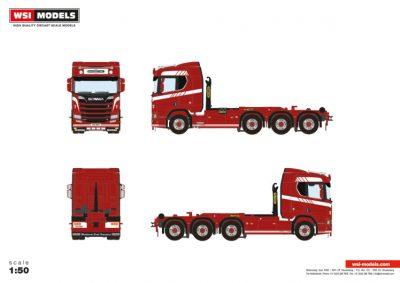 Premium Line SCANIA R NORMAL   CR20N 8X2 DRAWBAR , Van WSI Models