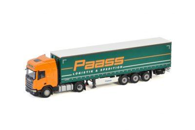 Paass Spedition GmbH SCANIA R HIGHLINE | CR20H 4X2 CURTAINSIDE TRAILER – 3 AXLE , Van WSI Models