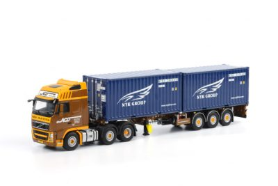 Dijkstra Volvo FH3 Globetrotter XL 6×2 voorloop as 2 x 20ft container met oplegger , Van WSI Models